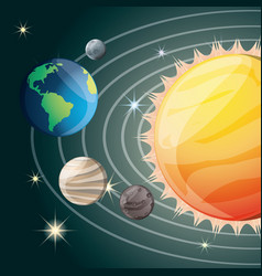 Solar system in the universe galaxy vector