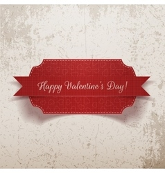 Valentines Day realistic red Label vector image