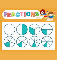 a cute fraction worksheet vector image