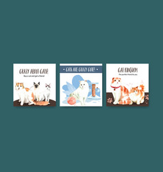 Advertise template design with cat for leaflet vector
