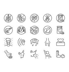 allergies icon set vector image
