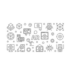 ar horizontal outline or vector image