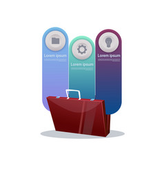briefcase over set of template infographic vector image