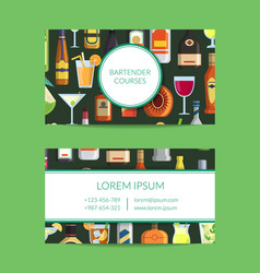 business card template for bar with vector image
