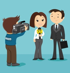 Businessman gives interview vector