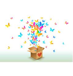 butterflies from open cardboard box vector image