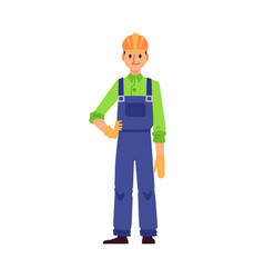 cartoon builder man standing and smiling isolated vector image
