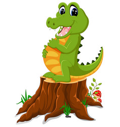 cartoon crocodile posing on tree stump vector image