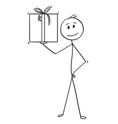 Cartoon of man or businessman with gift box or vector