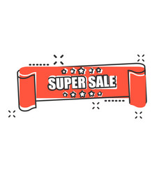 cartoon super sale ribbon icon in comic style vector image