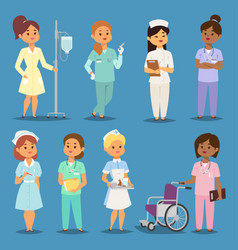 Cartoon woman doctors nurses girl meeting vector