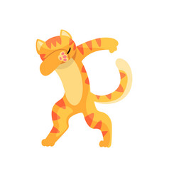 Cat standing in dub dancing pose cute cartoon vector