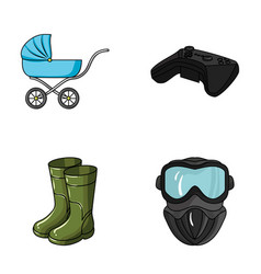 Child fishin and other web icon in cartoon style vector