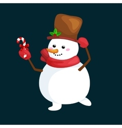 christmas white snowman in hat and scarf vector image