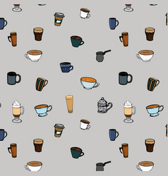 coffee cups seamless pattern hot drinks vector image