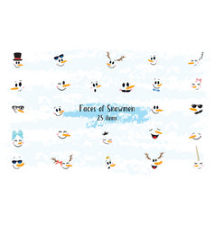 Collection of hand drawn cute snowman faces vector