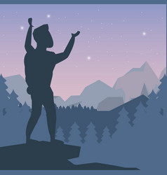 Color night landscape silhouette of climber man vector