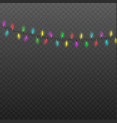colorful light bulb garland hanging realistic vector image