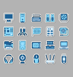 computer patch sticker icons set vector image