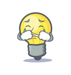 Crying light bulb character cartoon vector