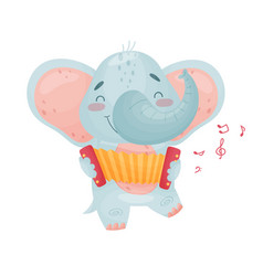 Cute elephant with a accordion vector