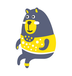Cute gray teddy bear in a yellow sweater sitting vector