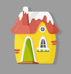 Cute house with snow on top vector
