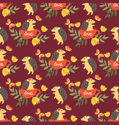 cute porcupine seamless pattern vector image