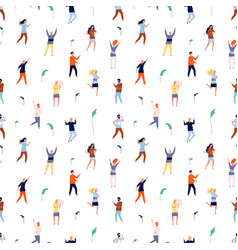 dancing people seamless pattern tiny persons vector image