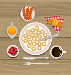 Delicious cereal with sausages and croissant vector