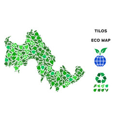 Ecology green collage tilos greek island vector