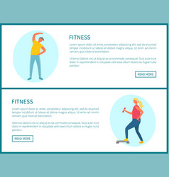Fitness and sport exercising web page templates vector