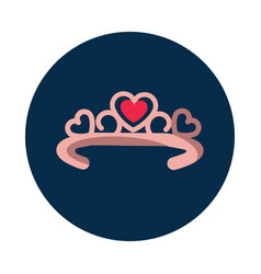 flat diadema with heart on white background vector image