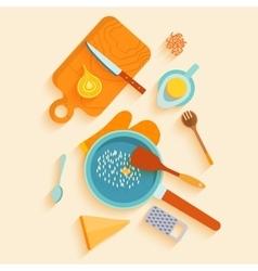 flat lay design card with recipe saffron vector image