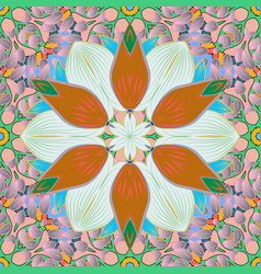 Flowers on neutral pink and orange colors vector