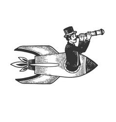 gentleman flies in rocket with telescope sketch vector image