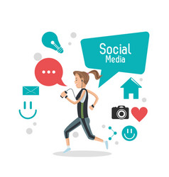 Girl social media mobile phone bubble speech vector