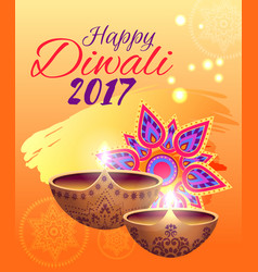 Happy diwali festival of lights bright poster vector
