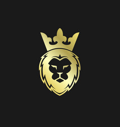 head lion with crown gold logo vector image