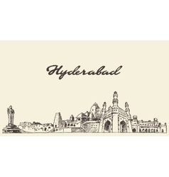 Hyderabad skyline drawn sketch vector image