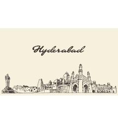 Hyderabad skyline drawn sketch vector