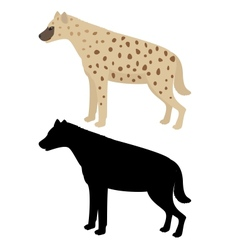 Hyena and its silhouette vector