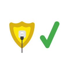 Icon concept of guard shield with plug plugged vector