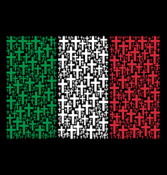 italian flag mosaic of religious cross icons vector image
