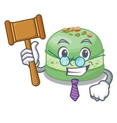 Judge pistachio cake in mascot shape vector