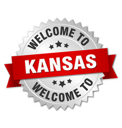 Kansas 3d silver badge with red ribbon vector