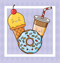 kawaii fast food vector image
