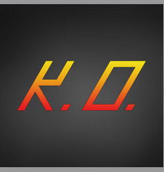 Ko combo icon ko wining round symbol vector