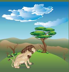 Landscape with lions vector