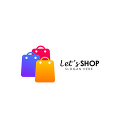 Lets shopping logo design template shopping icon vector